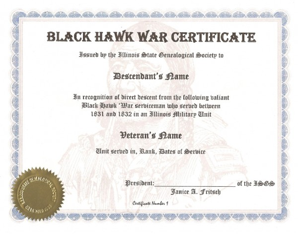 Illinois State Genealogical Society Black Hawk War Certificate