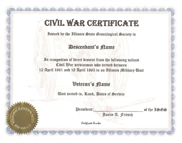 Illinois State Genealogical Society Civil War Certificate