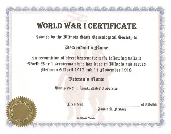 Illinois State Genealogical Society World War I Certificate