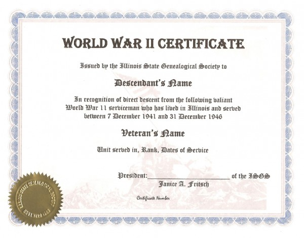 Illinois State Genealogical Society World War II Certificate