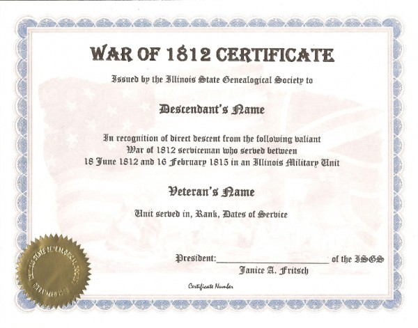 Illinois State Genealogical Society War of 1812 Certificate